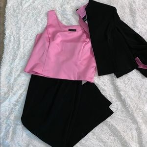 Black and Pink Pants Suits